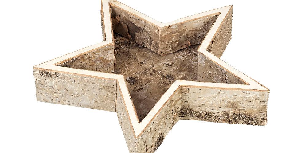 Wooden Bark Star tray Small