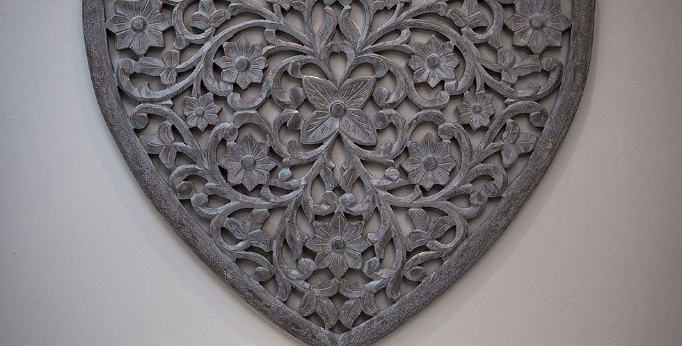 Grey Carved Heart Panel