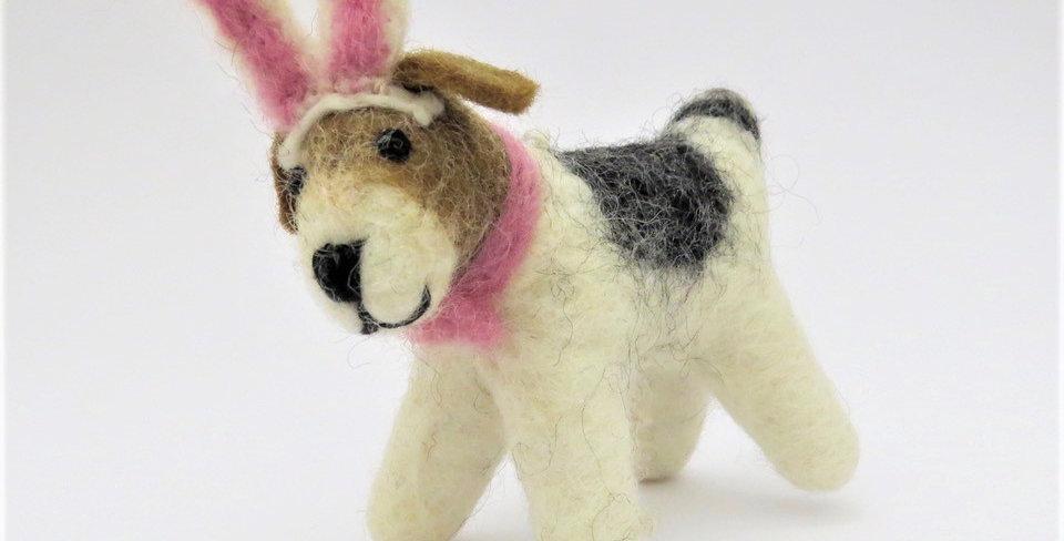 Medium Felt Bunny Earred Fox Terrier Decoration