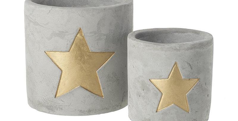 Cement Cut out Star T-light Holder Set