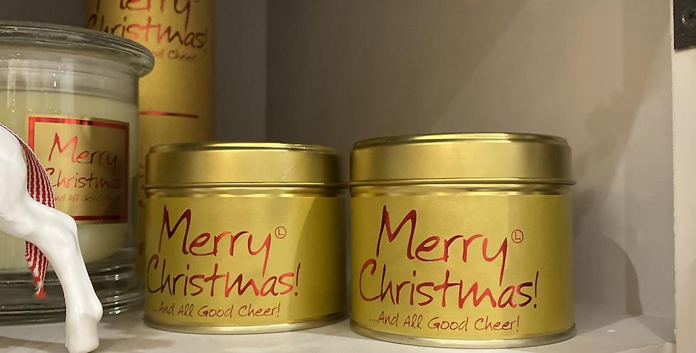 Merry Christmas Tin Candle
