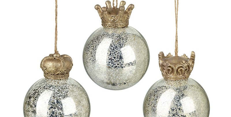 Mix of 3 Three Glass Hanging Baubles with Crowns