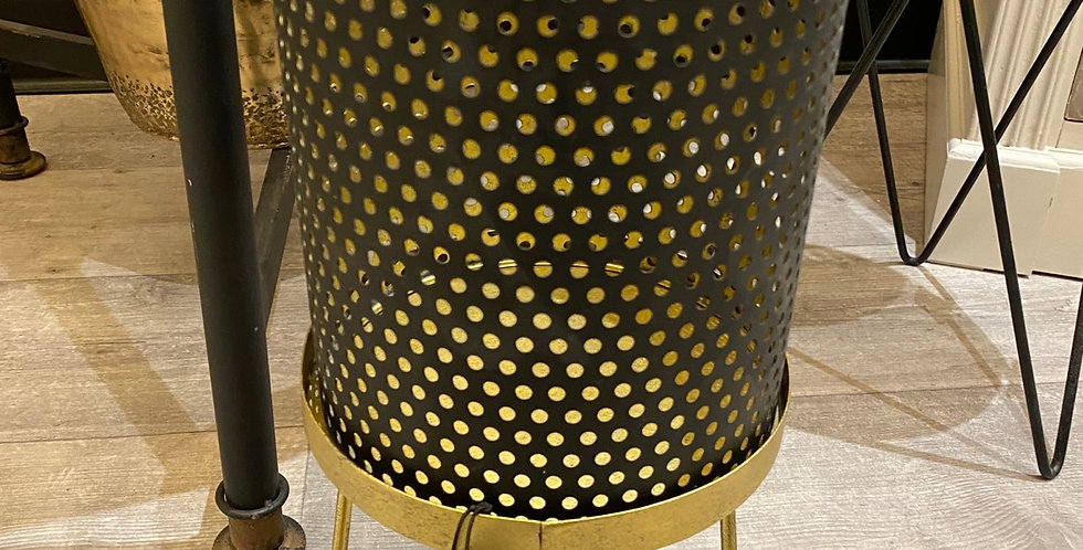 Medium footed black and gold hurricane lantern