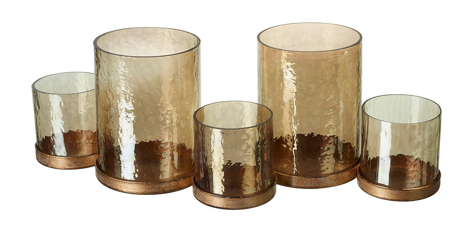 Five in a Row Hurricane Circles Candle Holder in Gold