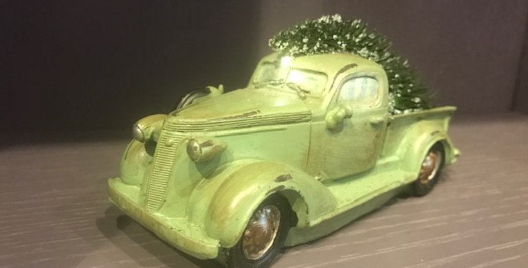 Vintage Inspired Green Car with Light Effect