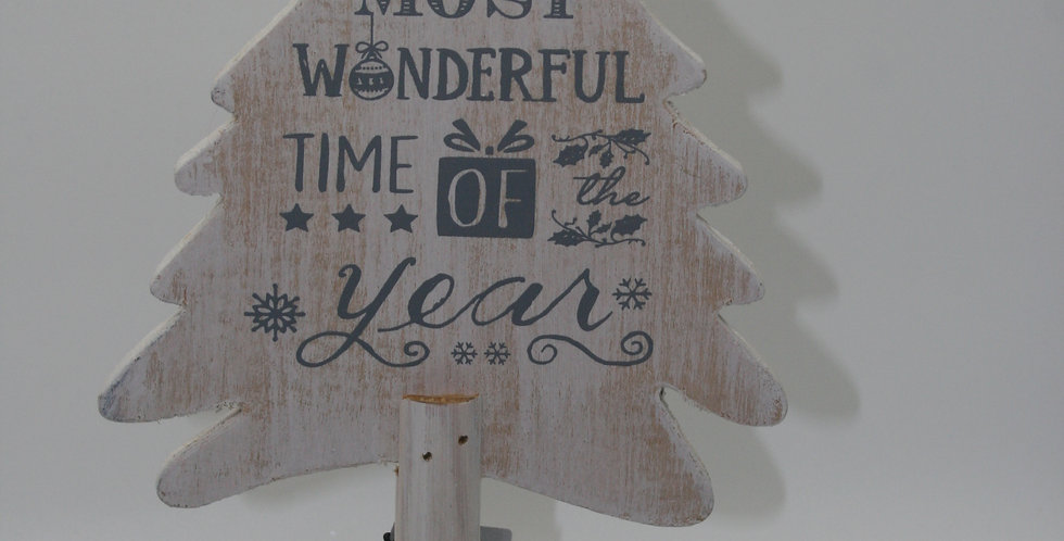 """It's the most wonderful time of the year""wooden Christmas tree"