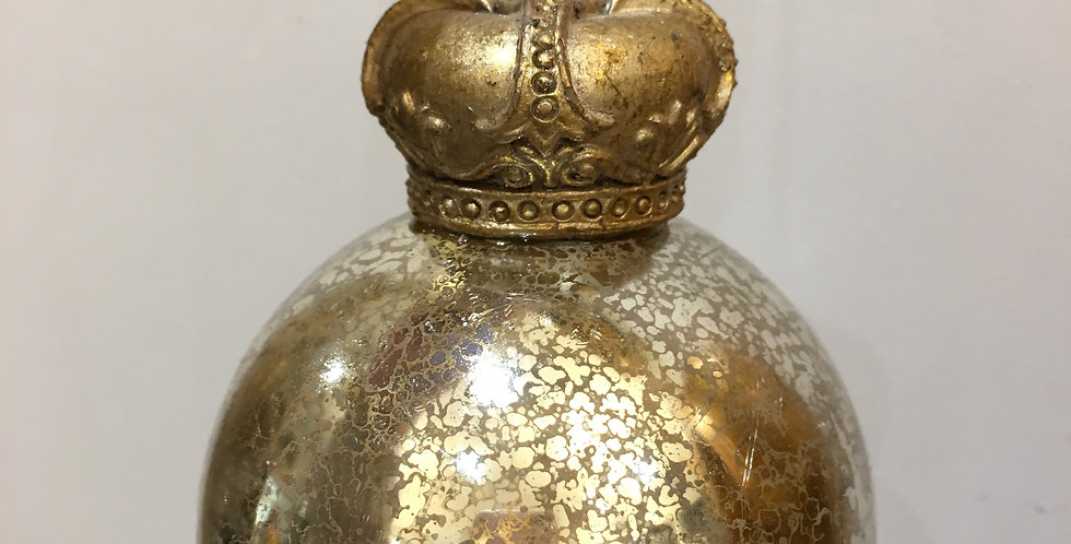 Silver Bauble with Gold Crown