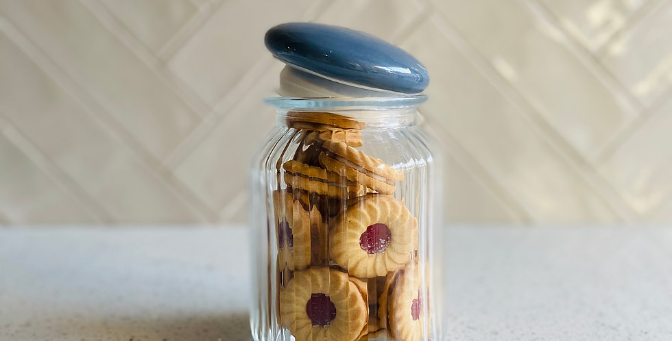 Cornbury Ribbed Glass Jar with Blue Lid