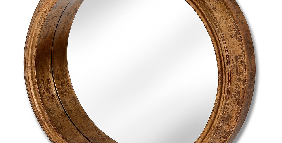 Deep Rimmed Antique Gold Large Mirror