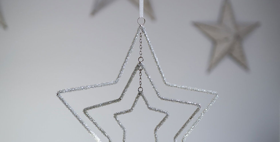 Three Layer Beaded Sparkle Star Decoration