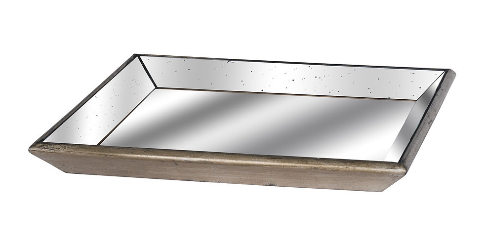 Asta Distressed Mirrored Square Tray with Wooden Detailing
