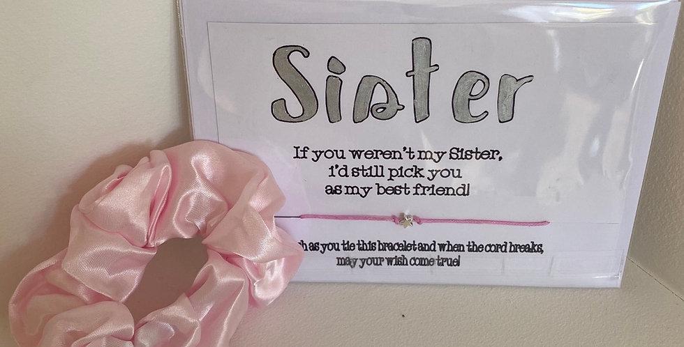 Sister Wish Bracelet and Scrunchie Gift Set