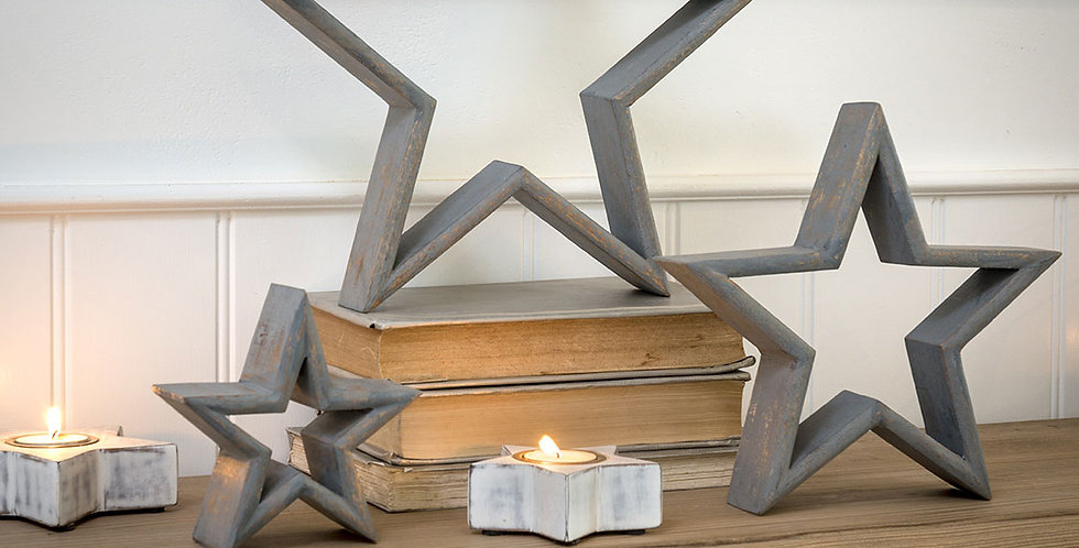 Gray Mantlepiece Stars (Set of 3)