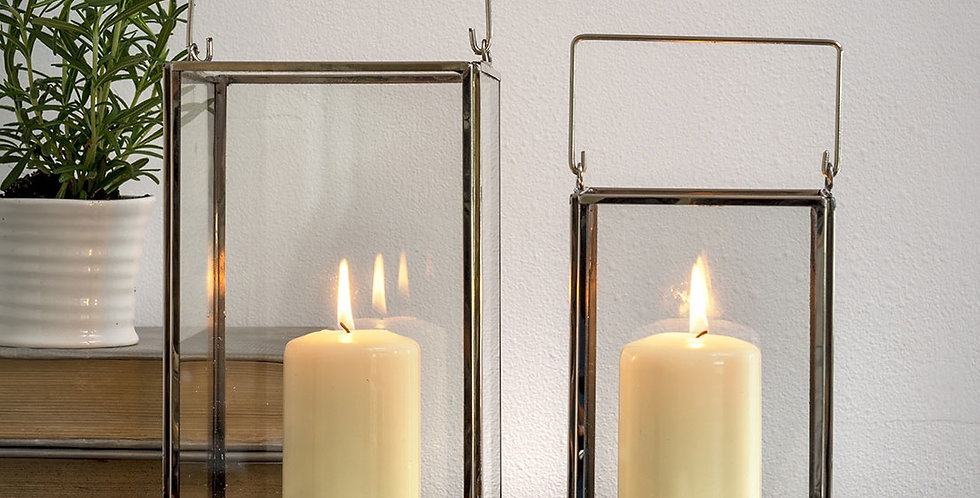 Glass rectangle carriage lantern - Small
