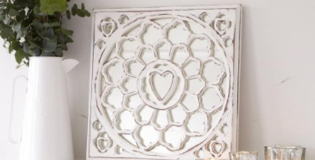 Hand Carved Small Wooden White Square Wall Mirror