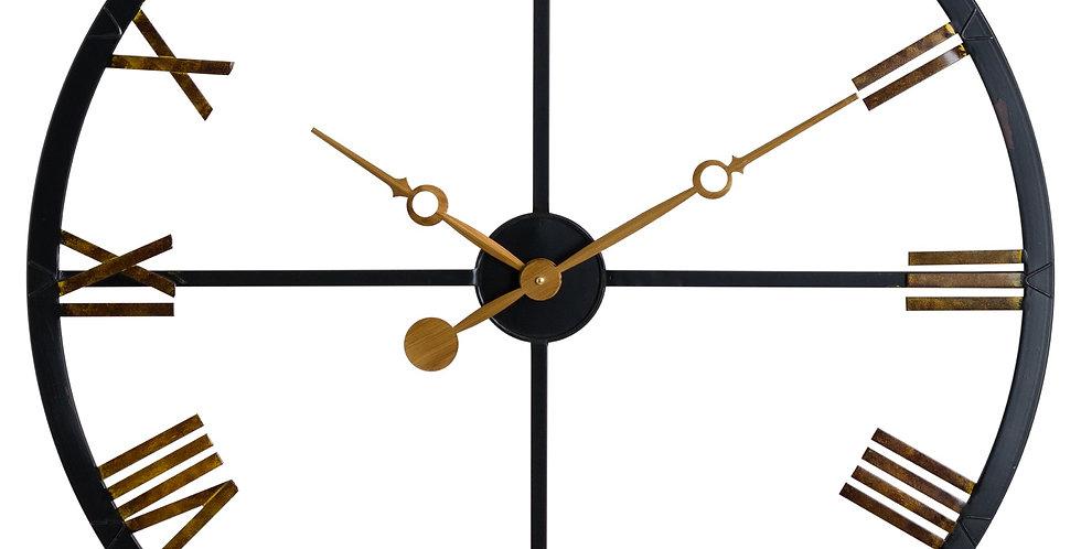 Black and Gold Skeleton Station Clock