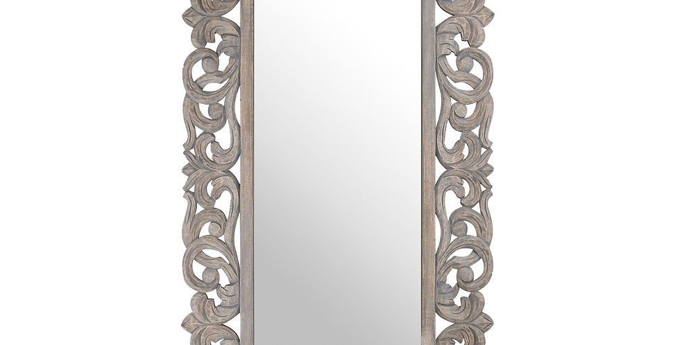 Colonial Grey Painted HandCarved Hard Wood Mirror