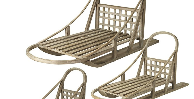 Set of Three Wooden Traditional Inspired Sledges
