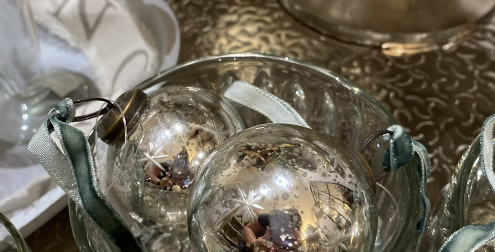Silver glass hanging ornament
