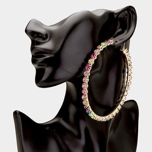Colorful Crystal Hoop Earrings