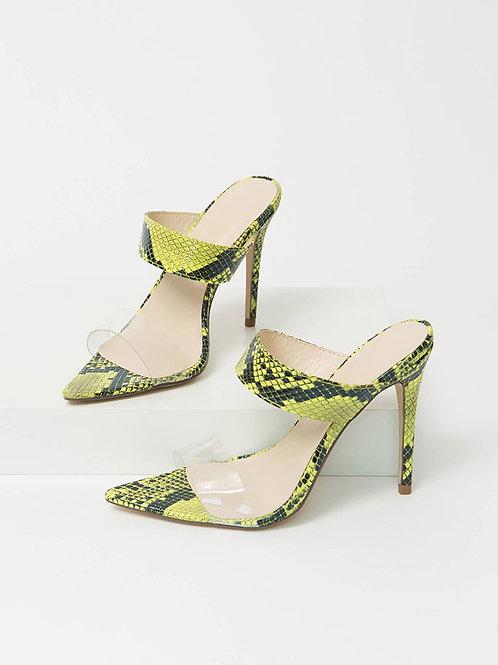 Dianne Snakeskin Neon Heels