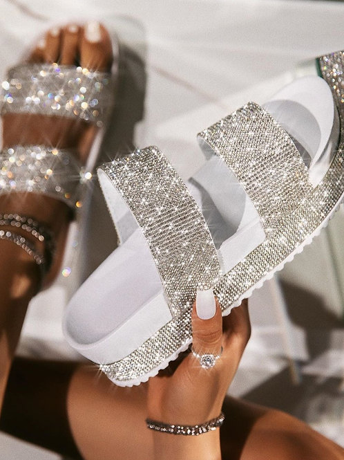 Double Strap Bling Slides
