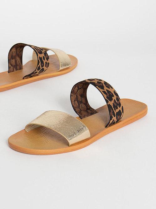 Gold Leopard Slides