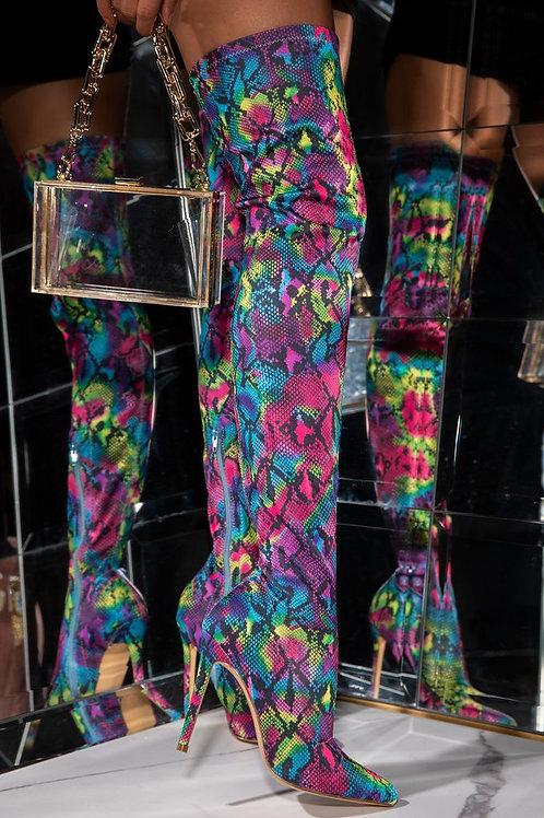 Multi Snakeskin Boots.