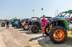 Multiple offroad vehicles parked
