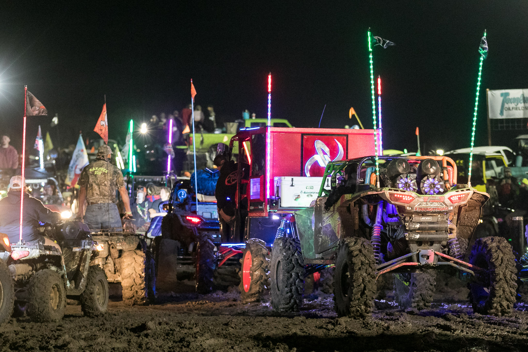 Monster trucks at night