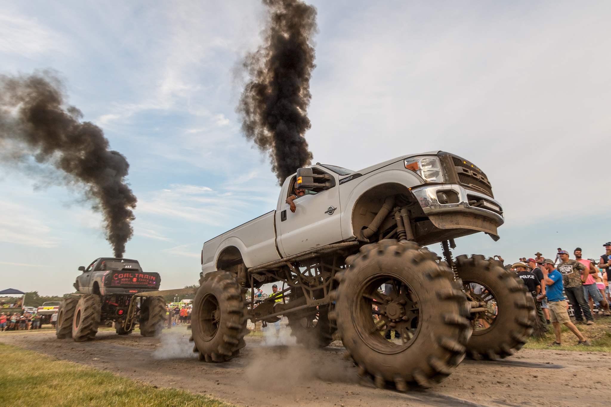 Monster trucks black exhaust smoke