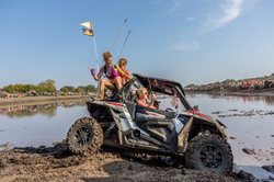 Fourwheeler stuck in muddy water