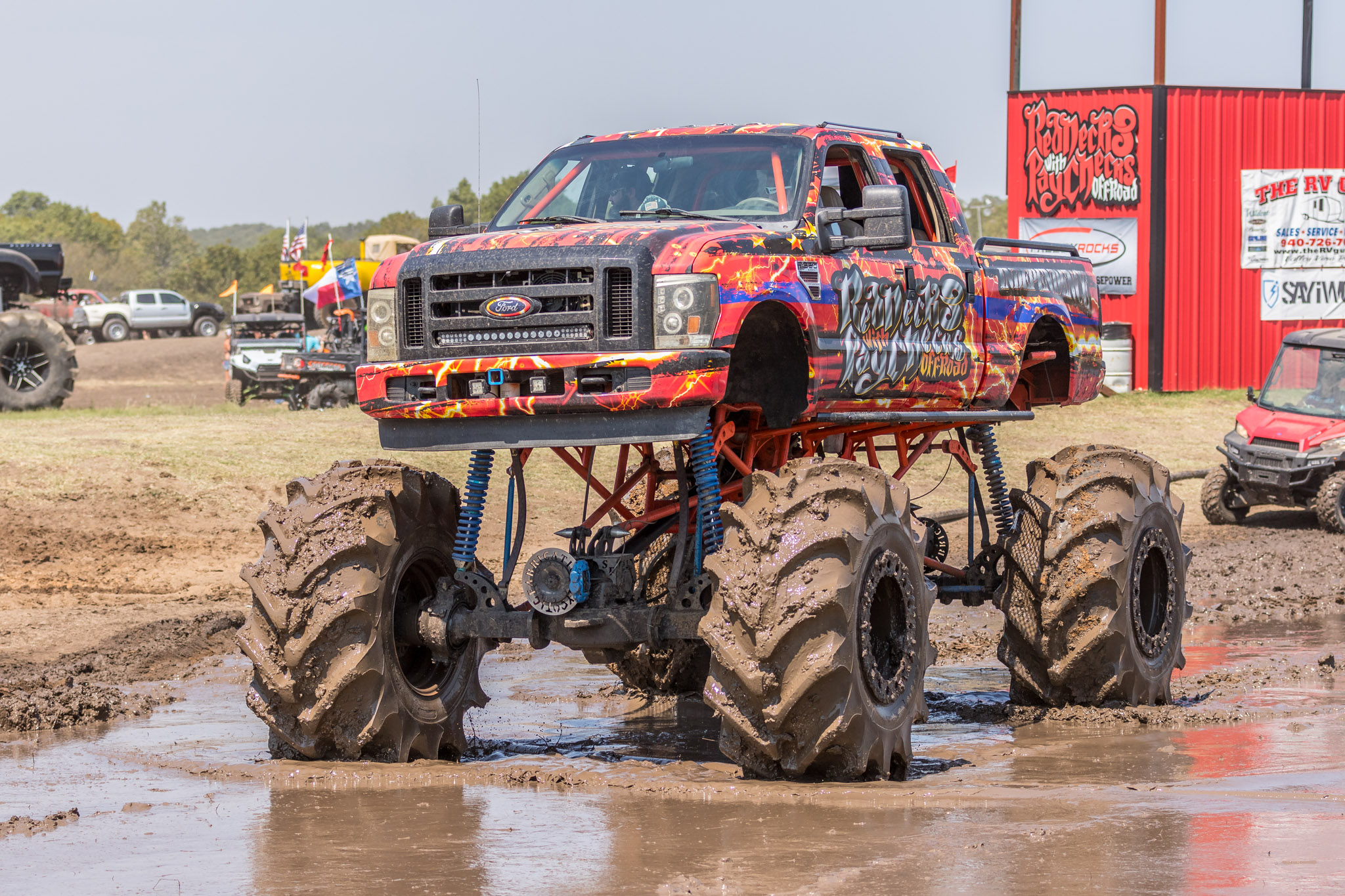 Monster truck parked in mud