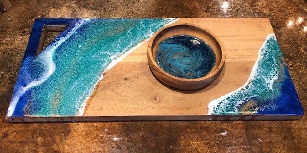 Art Pour - Wood Serving Board & Bowl