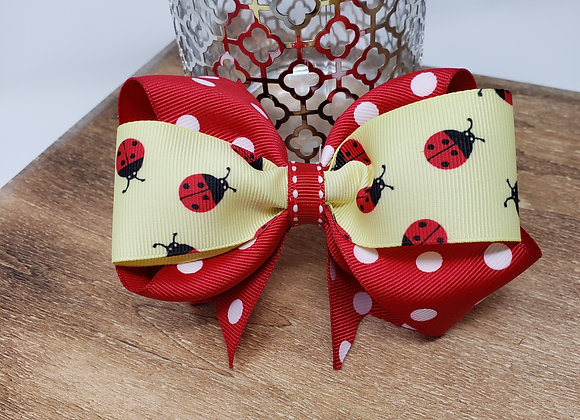 Ladybug on Red Boutique Bow