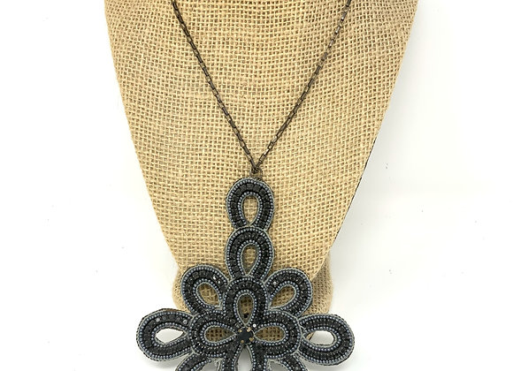 Long Black Necklace From Pink Pewter