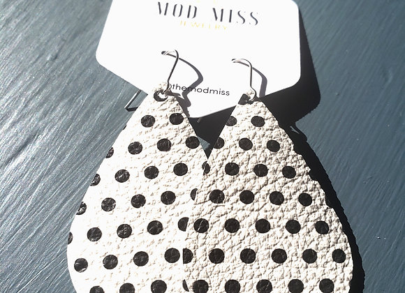Mod Miss: Black & White Polka Dot Earring