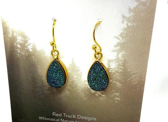 Red Truck Designs: Blue Druzy  Gemstone Earrings