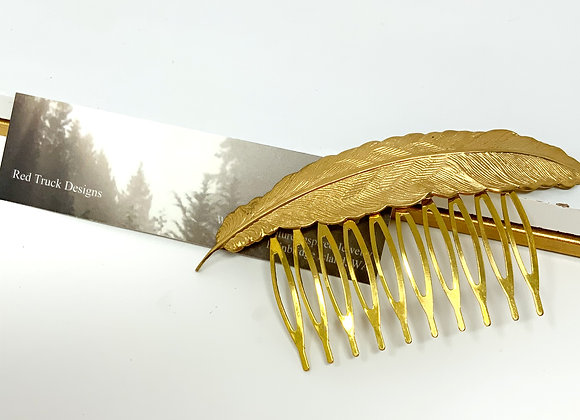 Red Truck Designs: Gold Feather Hair Comb