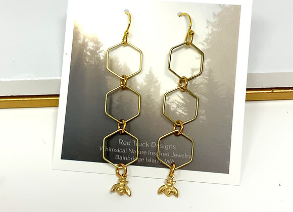 Red Truck Designs: Honeycomb and Bee Earrings