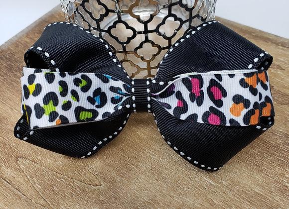 Neon leopard Boutique Bow