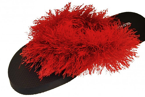 Flip Flops Ladies Black with Red Yarn