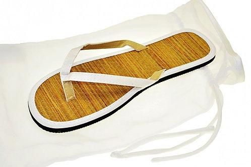 White Bamboo Wedding Sandals