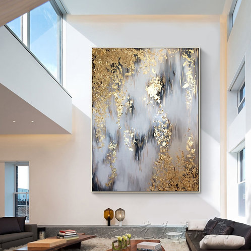 Gold & Black Abstract Art