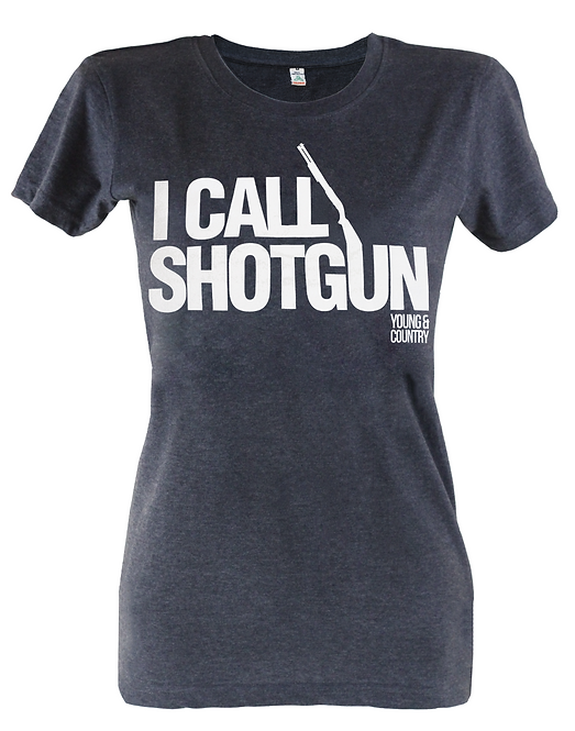 WOMENS 'I CALL SHOTGUN' TSHIRT - DARK GREY