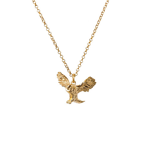 Barn Owl Luxury Gold and Silver Pendant with Chain