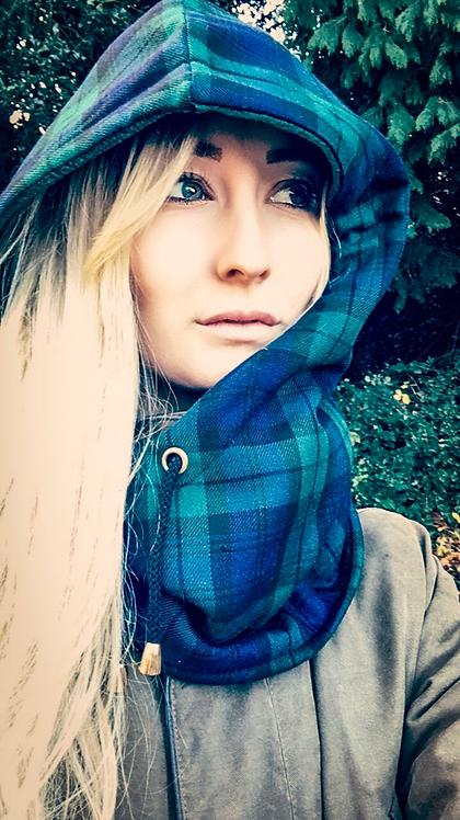 Winter Hedgerow Tartan Check Hood