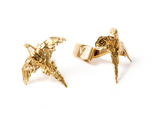 Flying Pheasant Luxury Gold or Silver Cufflinks