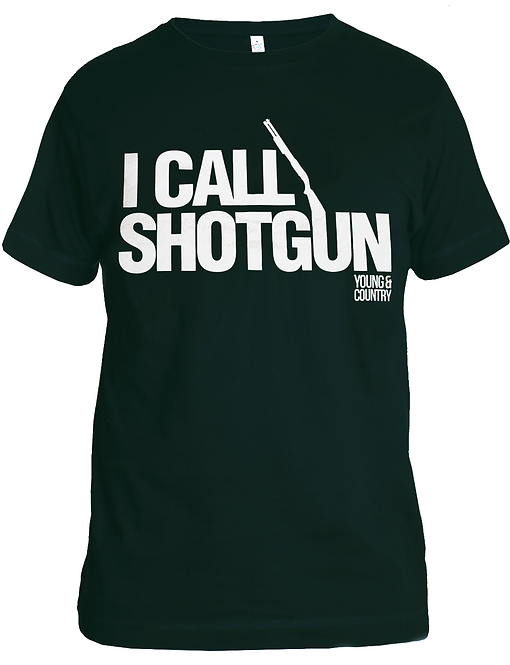 MENS 'I CALL SHOTGUN' TSHIRT - DARK GREEN