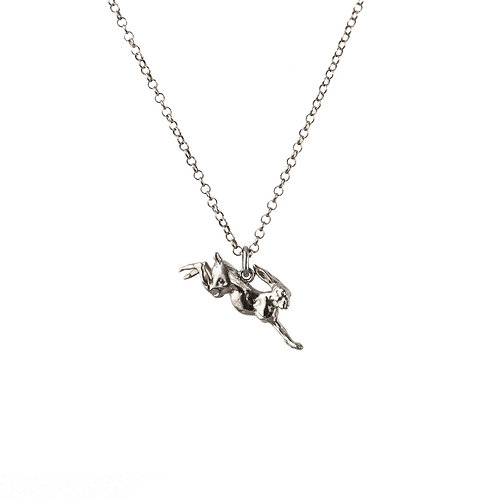 Leaping Hare Luxury Gold or Silver Pendant with Chain